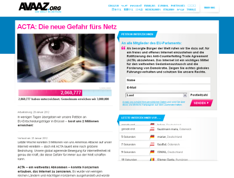 Bild: Screenshot Homepage Avaaz